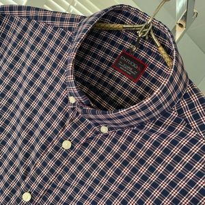 UNTUCKit red white blue plaid shirt! Like NEW!